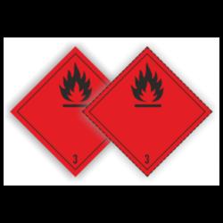 Eticheta ADR autocolanta pericol transport lichide inflamabile clasa 3a sau 3n (300 x 300mm)