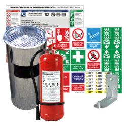 pachet full: scrumiera omologata, stingator P6, semnalistica PVC, plan de evacuare si suport prindere stingator