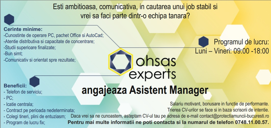 Asistent manager Ohsas Experts
