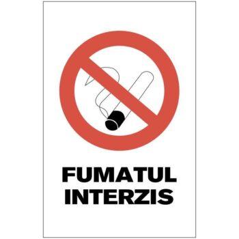 Indicator de interzicere: Fumatul interzis, Dimensiuni 200 x 300 mm. Suport PVC fexibil grosime 1 mm sau folie adezivă din PVC
