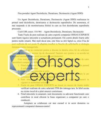 Instructiuni proprii Agent Dezinfectie, Deratizare, Dezinsectie (Agent DDD)