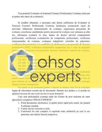 Fisa postului Evaluator in Sistemul Formarii Profesionale Continue (relevant si pentru alte tipuri de evaluatori)