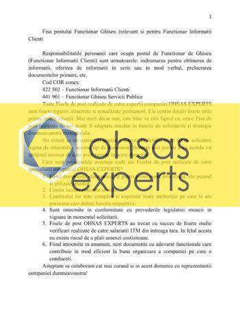 Fisa postului Functionar Ghiseu (relevant si pentru Functionar Informatii Clienti