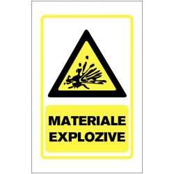 Indicator de avertizare: Materiale explozive, Dimensiuni 200 x 300 mm. Suport PVC fexibil grosime 1 mm sau folie adeziva din PVC