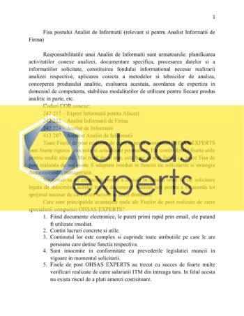 Instructiuni proprii Analist de Informatii (relevant si pentru Analist Informatii de Firma)