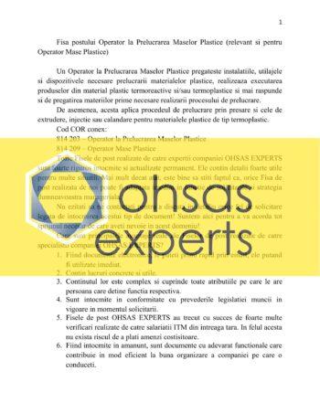 Instructiuni proprii Operator la Prelucrarea Maselor Plastice (relevant si pentru Operator Mase Plastice)