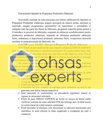Instructiuni proprii Operator la Prepararea Produselor Zaharoase