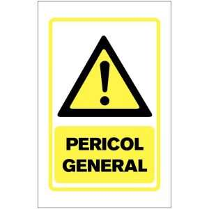 Indicator de avertizare: Pericol general Dimensiuni 200 x 300 mm. Suport PVC fexibil grosime 1 mm sau folie adeziva din PVC