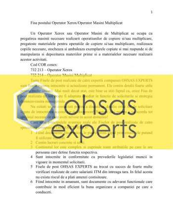 Instructiuni proprii Operator Xerox/Operator Masini Multiplicat