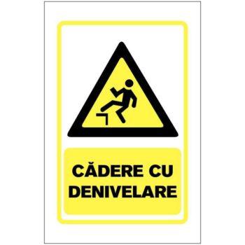 Indicator de avertizare:Cadere cu denivelari. Dimensiuni: 200 x 300 mm. Suport PVC fexibil grosime 1 mm sau folie adeziva din PVC