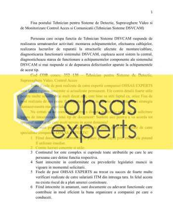 Fisa postului Tehnician pentru Sisteme de Detectie, Supraveghere Video si de Monitorizare Control Acces si Comunicatii (Tehnician Sisteme DSVCAM)