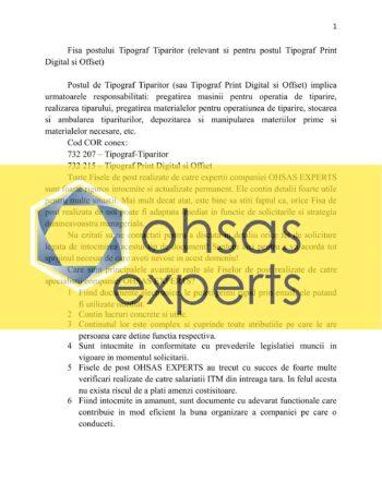 Fisa postului Tipograf Tiparitor (relevant si pentru postul Tipograf Print Digital si Offset)
