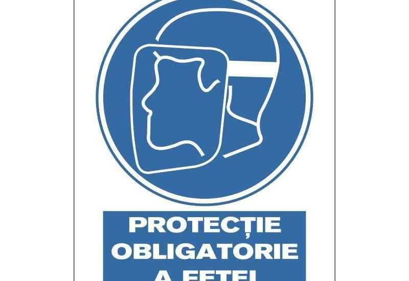 Indicator de obligativitate:Protectie obligatorie a fetei. Dimensiuni: 200 x 300 mm. Suport PVC