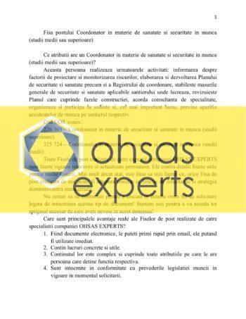 Instructiuni proprii Coordonator in materie de sanatate si securitate in munca (studii medii sau superioare)