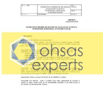INSTRUCTIUNI PROPRII DE SECURITATE SI SANATATE IN MUNCA MECANIC INTRETINERE SI REPARATII