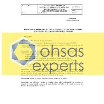 IPSSM pentru activitatea de curatenie -ingrijire cladiri