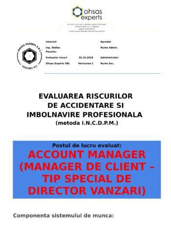 Evaluare riscuri SSM Account Manager (Manager de Client – tip special de Director Vanzari)