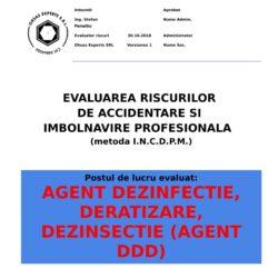 Evaluare riscuri SSM Agent Dezinfectie, Deratizare, Dezinsectie (Agent DDD)
