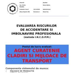 Evaluarea riscurilor de accidentare si imbolnavire profesionala Agent Curatenie Cladiri si Mijloace de Transport