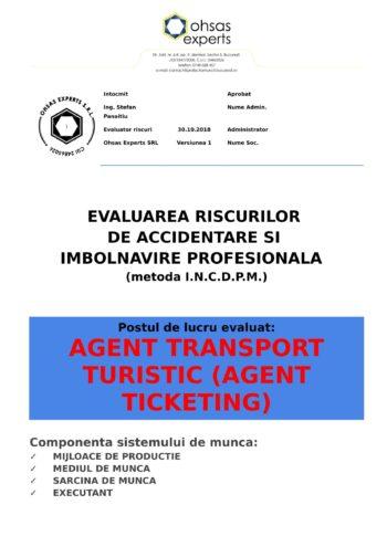 Evaluarea riscurilor de accidentare si imbolnavire profesionala Agent Transport Turistic Agent Ticketing