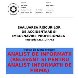 Evaluarea riscurilor de accidentare si imbolnavire profesionala Analist de Informatii relevant si pentru Analist Informatii de Firma