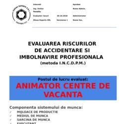Evaluarea riscurilor de accidentare si imbolnavire profesionala Animator Centre de Vacanta