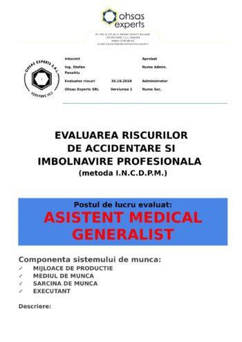 Evaluarea riscurilor de accidentare si imbolnavire profesionala Asistent Medical Generalist