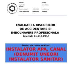 Evaluare riscuri SSM Instalator Apa, Canal (denumit uneori Instalator Sanitar)