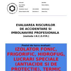 Evaluare riscuri SSM Izolator Fonic, Frigorific, Hidrofug, Lucrari Speciale (antiacide si de protectie), Termic