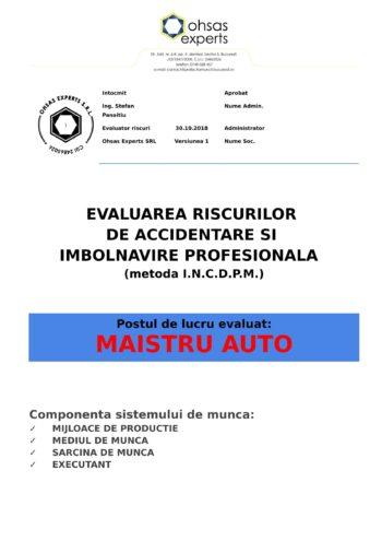 Evaluarea riscurilor de accidentare si imbolnavire profesionala Maistru Auto