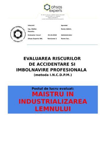 Evaluarea riscurilor de accidentare si imbolnavire profesionala Maistru in Industrializarea Lemnului