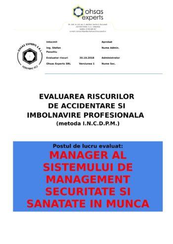 Evaluarea riscurilor de accidentare si imbolnavire profesionala Manager al Sistemului de Management Securitate si Sanatate si Munca