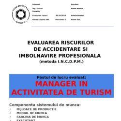 Evaluarea riscurilor de accidentare si imbolnavire profesionala Manager in Activitatea de Turism