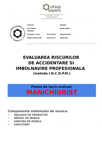 Evaluarea riscurilor de accidentare si imbolnavire profesionala Manipulant Manichiurist