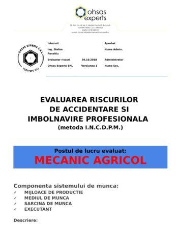 Evaluarea riscurilor de accidentare si imbolnavire profesionala Mecanic Agricol