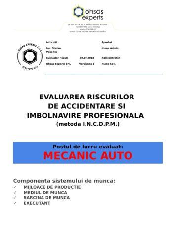 Evaluarea riscurilor de accidentare si imbolnavire profesionala Mecanic Auto