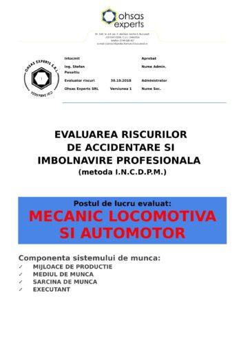 Evaluarea riscurilor de accidentare si imbolnavire profesionala Mecanic Locomotiva si Automotor