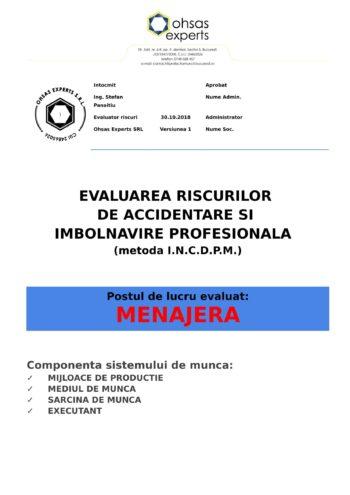 Evaluarea riscurilor de accidentare si imbolnavire profesionala Menajera