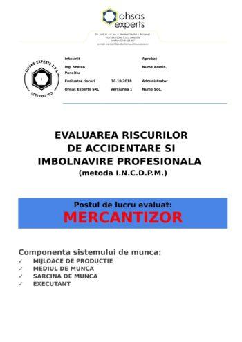 Evaluarea riscurilor de accidentare si imbolnavire profesionala Mercantizor