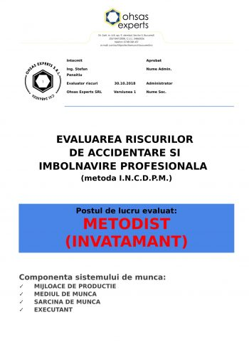 Evaluarea riscurilor de accidentare si imbolnavire profesionala Metodist invatamant
