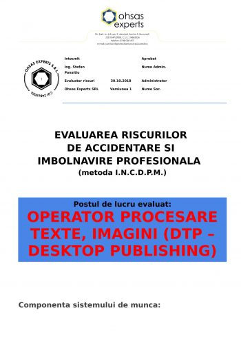Evaluare riscuri SSM Operator Procesare Texte, Imagini (DTP – Desktop Publishing)