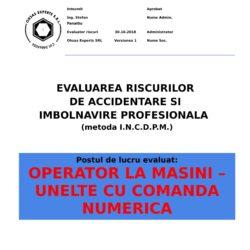 Evaluare riscuri SSM Operator la Masini – Unelte cu Comanda Numerica