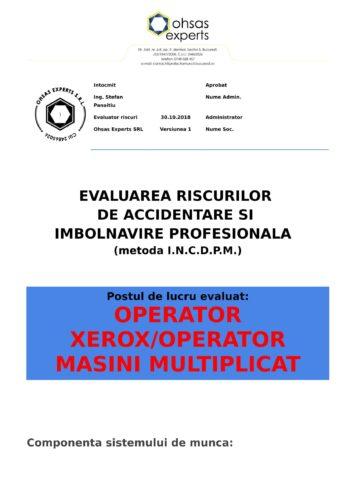 Evaluarea riscurilor de accidentare si imbolnavire profesionala Operator Xerox Operator Masini Multiplicat