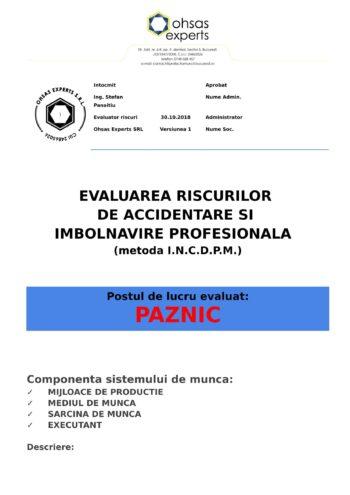 Evaluarea riscurilor de accidentare si imbolnavire profesionala Paznic
