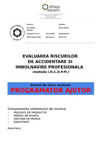 Evaluarea riscurilor de accidentare si imbolnavire profesionala Programator Ajutor
