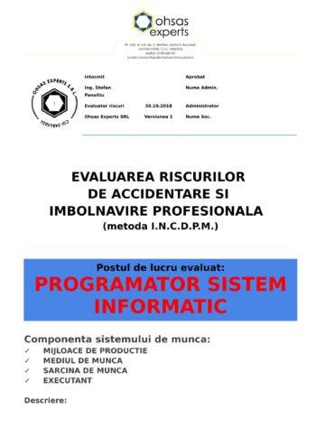 Evaluarea riscurilor de accidentare si imbolnavire profesionala Programator Sistem Informatic