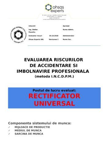Evaluarea riscurilor de accidentare si imbolnavire profesionala Rectificator Universal