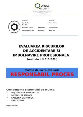 Evaluarea riscurilor de accidentare si imbolnavire profesionala Responsabil Proces