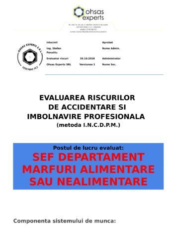 Evaluarea riscurilor de accidentare si imbolnavire profesionala Sef Departament Marfuri Alimentare sau Nealimentare