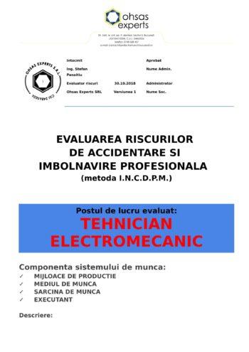 Evaluarea riscurilor de accidentare si imbolnavire profesionala Tehnician Electromecanic